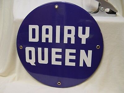 Vintage Dairy Queen Ice Cream Burgers Porcelain Advertising Button Shaped Sign