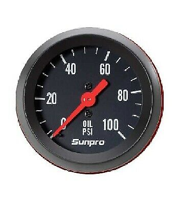 "Sunpro 2"" Mechanical Oil Pressure Gauge 0-100 PSI Black / Black Bezel New CP8216"