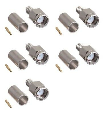 5 pcs SMA Male Crimp Connector for RG58 LMR195 RG142 RF Coax Cable Tram 5700