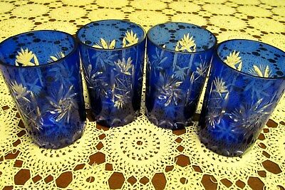 Set of 4 Vintage  Bohemian Czech Cobalt Blue Cut to Clear Old Fashion Glass 4""