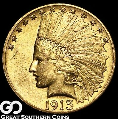 1913 Gold Eagle, $10 Gold Indian ** Free Shipping!
