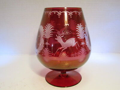 VTG Germany Ruby Red Cut To Clear Dear & Bird Decorated Brandy Sniffer Goblet