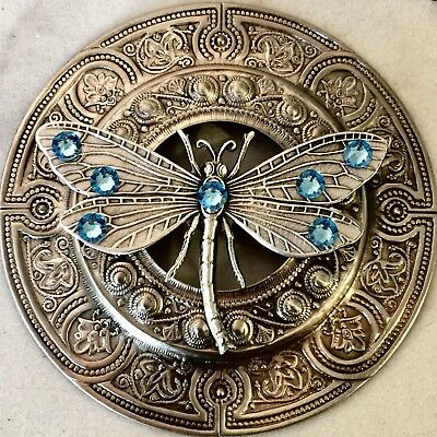 """SUPER EXTRA LARGE 3""""INCH Silvered Brass~AQUAMARINE BLUE JEWELED DRAGONFLY""""Button"""