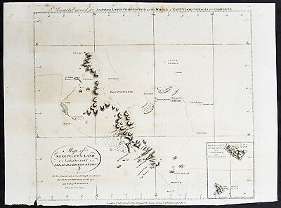 1784 Anderson Antique Map SW Regions of Kerguelen Islands in South Indian Ocean