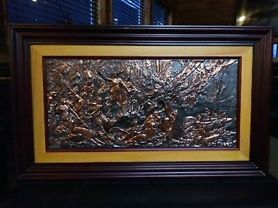 Beautifully Detailed High Relief Copper Wall  Sculpture Art Signed