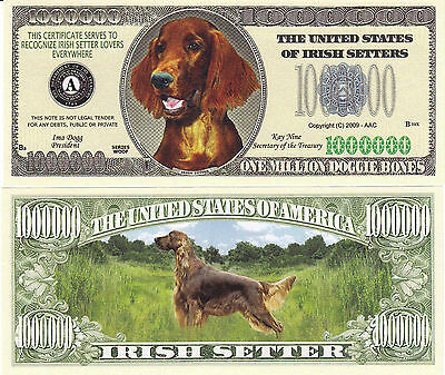 Two Irish Setter K-9 Dog Novelty Currency Bills #272