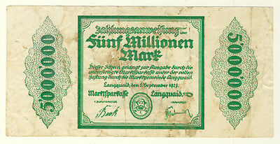 NOTGELD - Stadt LANGQUAID - 5 MILLIONEN MARK 5.9.1923 (219)
