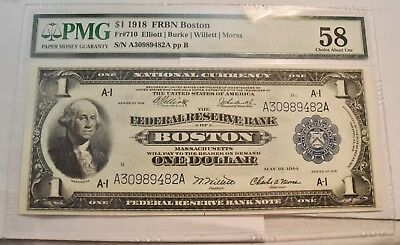 1918 $1 PMG 58 Federal Reserve Bank Note National Currency Boston Fr# 710 Eagle