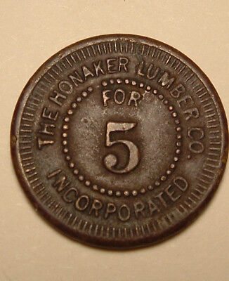Antique Honaker, Virginia (Russell County) Lumber Co. Employee Scrip Money Coin