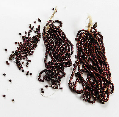 Antique Vintage Copper Red Cut Glass Seed Beads French B19