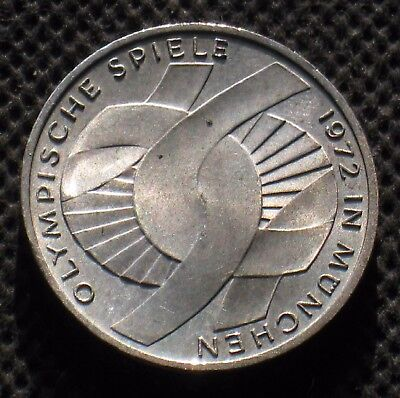 SILVER COMMEMORATIVE 10 DM 1972J COIN OF WEST GERMANY OLYMPIC GAMES MUNICH Ag -B