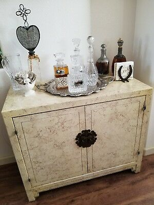 HENREDON Circa 75 Asian style faux marble bar cabinet with brass round locks