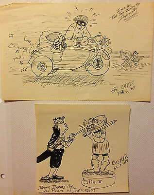 Hand drawing ink cartoons 1934 Set of 2