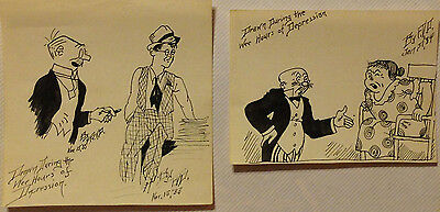 Hand drawing ink cartoons 1933 -34 Set of 2