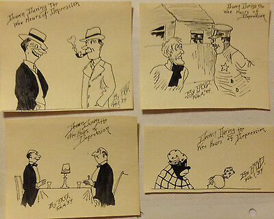 Hand drawing ink cartoons 1934 Set of 4