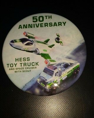 Extremely rare Hess truck and space cruiser employee pin button 50th ANNIVERSARY