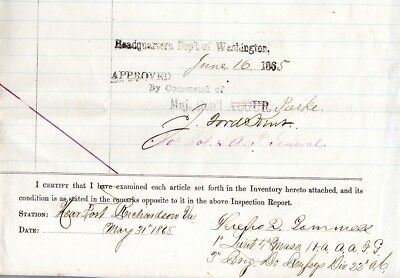 1864, 4th Mass. Cavalry, General Jacob Ford Kent, signed equipage roster