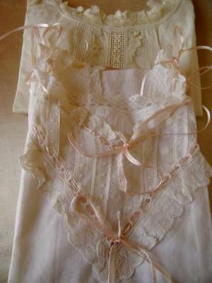 Two Beautiful Antique French Lace & Ribbon Childs Camisole Vests C.1900