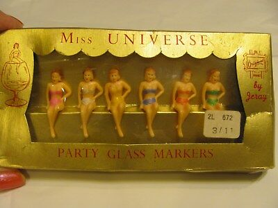 Rare Vintage 1950S  Bathing Beauty Belle Cocktail Glass Markers Kitsch Bar