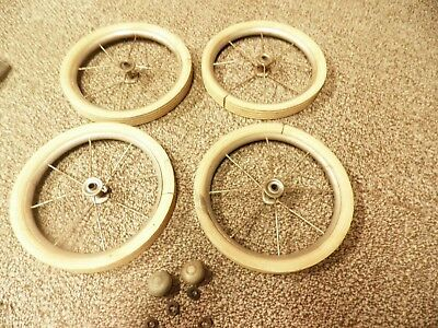 4 vintage child's doll buggy spoked wheels white rubber tires