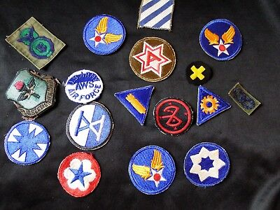 Lot of 17 WWI - WWII - Post U.S. Army & Air Force patches - a couple greenbacks