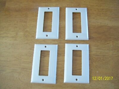 lot of 4 Vintage Sierra Ribbed  Switch Plate Cover Ivory Bakelite Deco