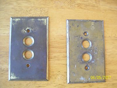 Vintage Pair Of Brass Push Button Wall Light Switch Plates Covers Hardware!