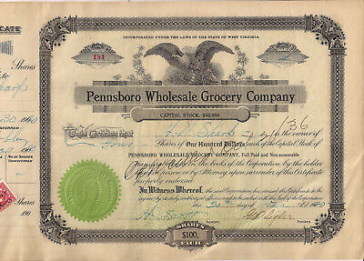 WV, PENNSBORO WHOLESALE GROCERY CO, stock certificate with revenue stamps, 1920