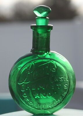Beautiful Emerald Green Boots Cash Chemists & Perfumers Flask Bottle & Stopper