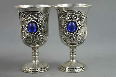 Collectable Handwork Old Miao Silver Carve Flower Inlay Agate Lucky Wine Cup