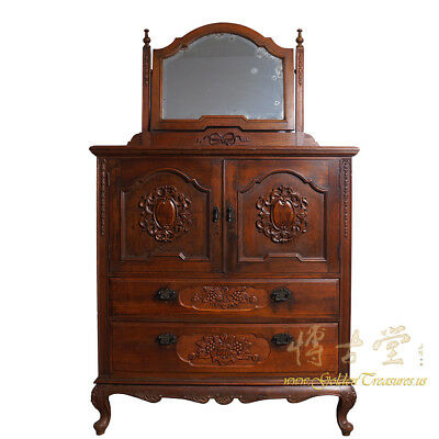 Chinese Antique Raise Carved Dresser with Mirror on top 6H11