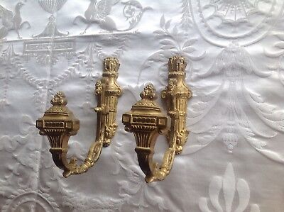 Chateau Chic Pair French Antique Gilded Bronze Curtain Tie Backs Hold Backs
