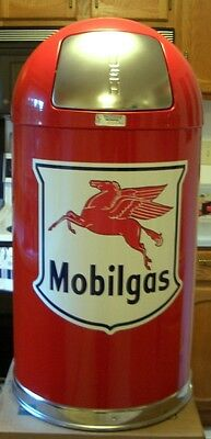New Mobilgas  Shield Garbage Trash Waste Receptacle Can - Red -  Free Shipping*