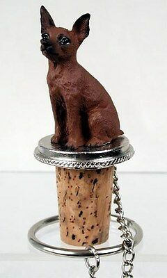 Miniature Pinscher Min Pin Red Dog Hand Painted Figurine Wine Bottle Stopper