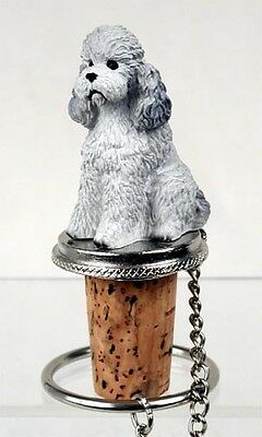 POODLE Gray Sport Cut Dog Hand Painted Resin Figurine Wine Bottle Stopper