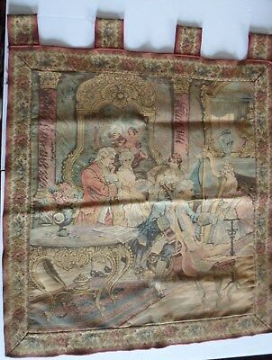 Antique Wall Hanging Tapestry Woven Victorian Music Room 4 Tabs