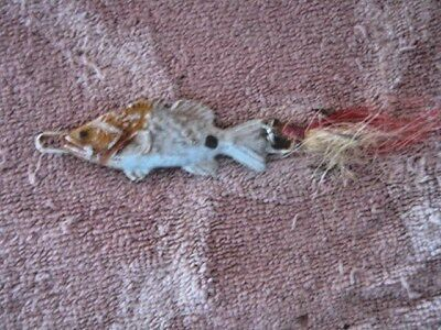 Rare Old Vintage Unknown Heavy Lead Fish Slab Lure Lures With Buck Tail