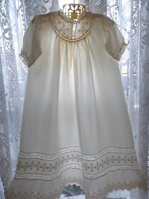 Vintage Antique Silk Embroidered Lace Gown Dress Baptism Christening Outfit