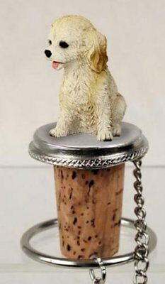 Cockapoo Cream Dog Hand Painted Resin Figurine Wine Bottle Stopper