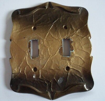 Vintage Electrical Double Light Switch Cover Wall Plate Metal Decorative Gold