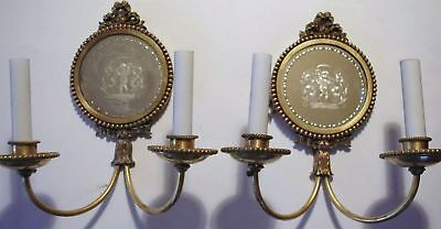 Pair Authentic E.f. Caldwell Mirrored Eglomise Putti 2 Light Sconces - Signed