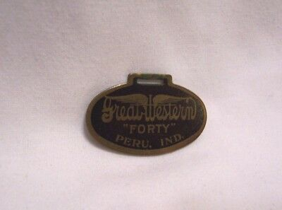 1910's Great Western Forty Automobile Watch Fob Peru Indiana