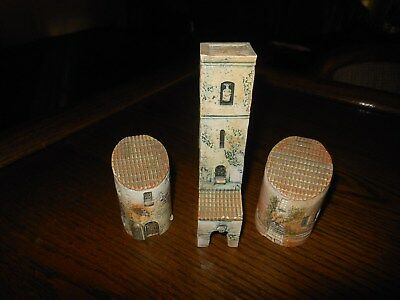 GROUP OF 3 GAULT MINIATURE BUILDING'S 2 ROUND & 1 TOWER w/ SKULL MADE IN FRANCE
