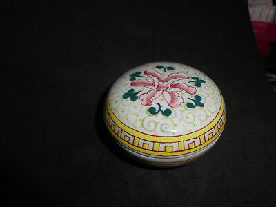 Charming Vintage Porcelain Box With Orchid Design & Chinese Characters On Base