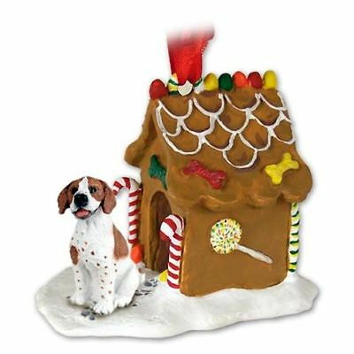 Pointer Brown White Dog Ginger Bread House Christmas ORNAMENT