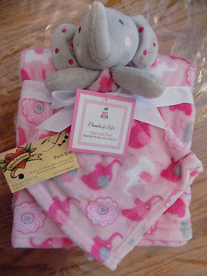 Elements Style Blanket & Security Combo Lot 2 Elephant Pink Gray Fleece Flowers