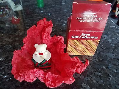 Teddy Bear On Drum Ornament Avon Gift Collection Christmas Created In Taiwan