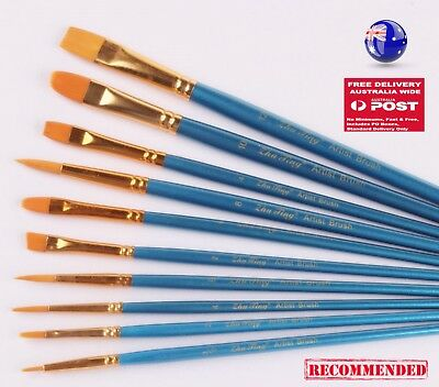 AU 10PC Blue Oil Painting Brushes Set Acrylic Watercolor Artist Face Paint Craft