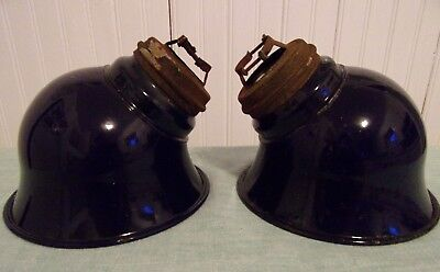 2 Vintage Cobalt  Blue Porcelain Enamel Light Shades Barn Shed Gas Station