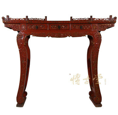 Chinese Antique Carved Red Lacquered Altar Table/Consol 27T04